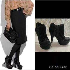 Authentic FENDI Black Ankle Boot Sz 37 Heels